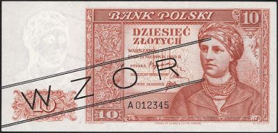 Poland currency 10 Polish złoty banknote of 1939 (not issued). Bank Polski - Bank of Poland - Government of the Republic of Poland in exile during World War II. Polish złoty, Polish banknotes, Poland banknotes, Polish bank notes, Polish paper money, Poland bank notes, Poland paper money.  Obverse: Portrait of a young woman in a headscarf and with beads around her neck - woman from Warsaw area in national costume.