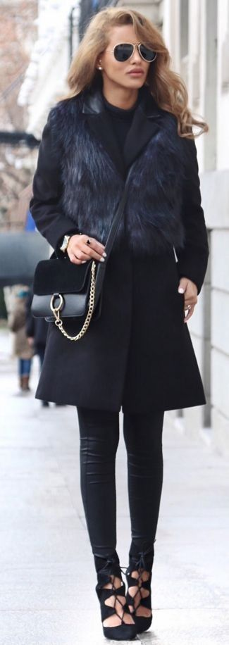 Fur Gilet Coat : Miss Selfridge | Leather Jeans : Quiz Clothing | Crossbody Bag : Yesstyle | Original 40 Soho Watch : Waldor Watches | Sunglasses : Asos | Pointed Lace Up Heels  | Total Black Casual Chic Winter Street Style |Nada Adellè