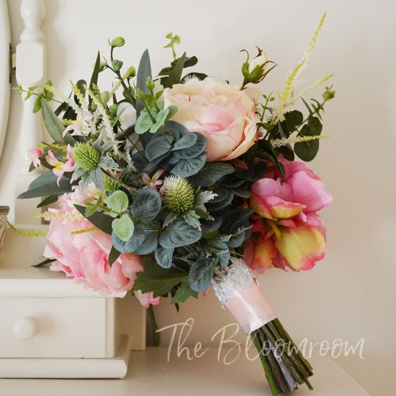 Oh la la...our new Imogen bridal bouquet, is a generous bouquet. Packed full of gorgeous roses and peony in various pink hues. Imogen comes to our Etsy store with matching bridesmaid bouquet and soon to be released flower crown, boutonniere and corsage. @