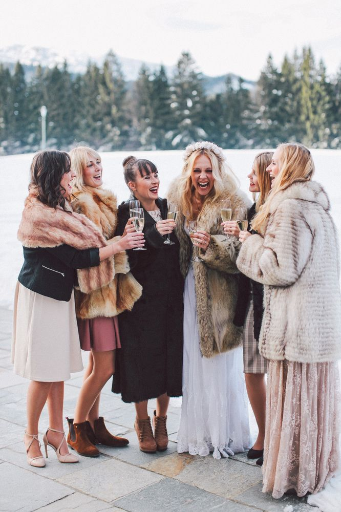 Snow is the perfect backdrop for winter wedding fun