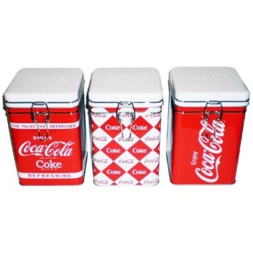 Amazon.com: Coca-Cola Kitchen Collectible Tin Canisters with Seal Tight Lids (Set of 3): Home & Kitchen