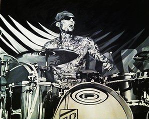 Travis Barker, Blink 182 - black and white acrylic painting on canvas