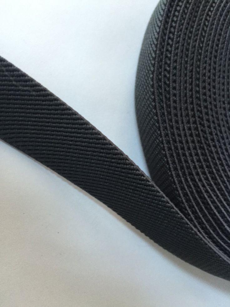 0.8 in - 2 cm wide charcoal gray elastic webbing, suspender elastic by NoaElastics on Etsy