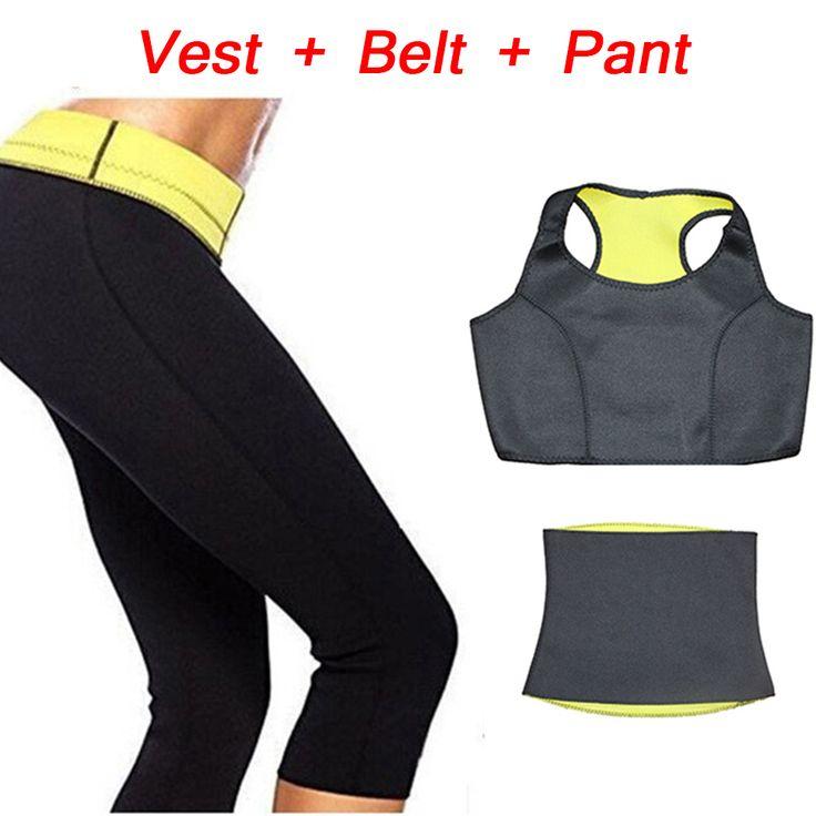 (Pantalones + chaleco + correa) venta caliente super neopreno ropa conjuntos pantalones de cintura de las mujeres que adelgaza shapers entrenador faja body