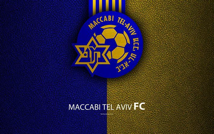 Download wallpapers Maccabi Tel Aviv FC, 4k, football, logo, emblem, leather texture, Israeli football club, Ligat HaAl, Tel Aviv, Israel, Israeli Premier League
