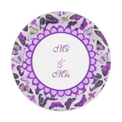 Purple Butterflies Wedding Paper Plates