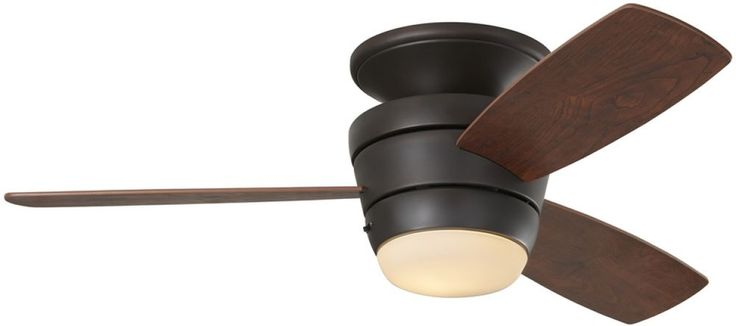 3-Blade 44-in Mazon Bronze Flush Mount Ceiling Fan with Remote Control/Light Kit #HarborBreeze #Contemporary
