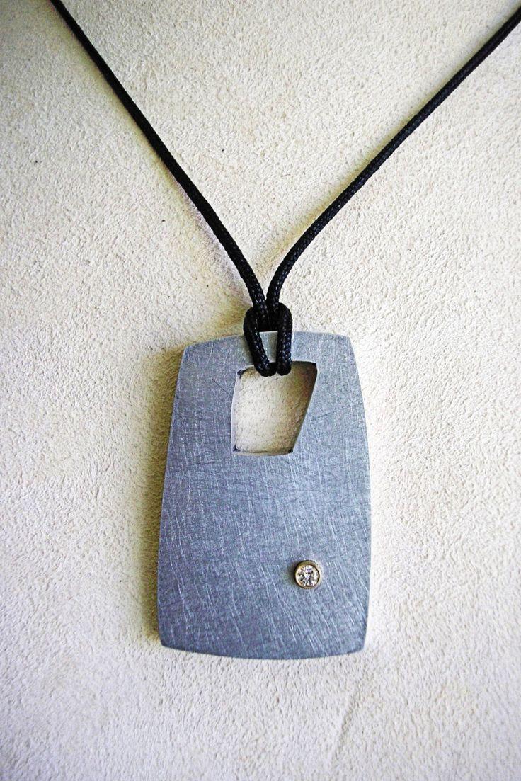 Abstract Lumina Recycled Aluminum Pendant w/Diamond