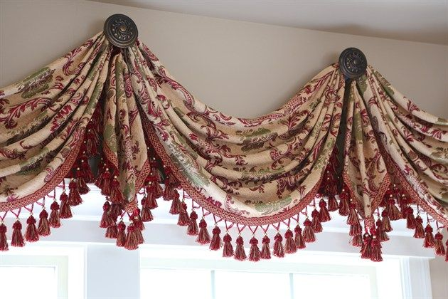 Rosy Queen Swags Over Rosette Valance Curtain Drapes   Marie Antoinette style curtain is simply decadent and voluptuous. Palace cream chenille fabric woven with large-scale floral and acanthus patterns in rosy red golden thread. Red and gold tassel fringes are hand tailored along the curvaceous swags and tails to enhance the magnificence and royalty of the curtain's appearance. http://www.celuce.com/p/204/rosy-queen-swags-over-rosette-valance-curtain-drapes
