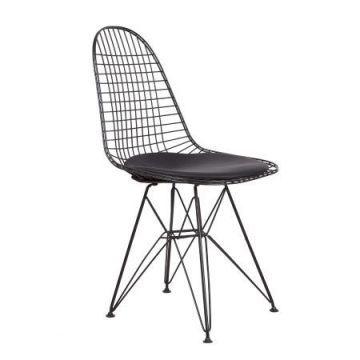 Eames Tel Kafes Sandalye Siyah