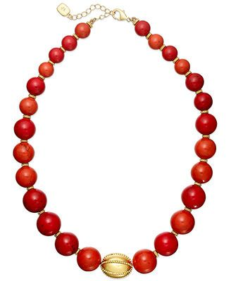 Lauren Ralph Lauren Graduated Coral Bead Strand Necklace