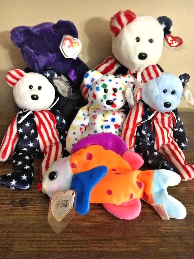 Lot Of 6 - Rare TY Beanie Babies Princess Diana Patriotic Spangle Bean Plush Toy #Ty