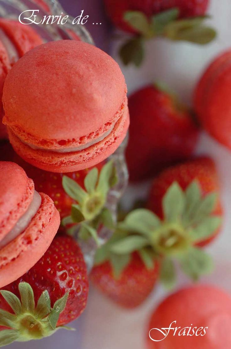Strawberry macarons with strawberry ganache