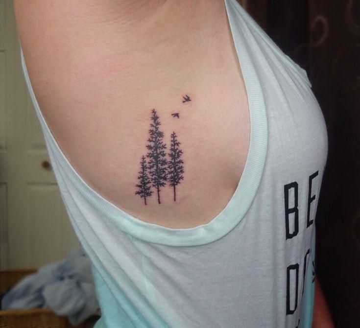 Pine tree side rib tattoo!