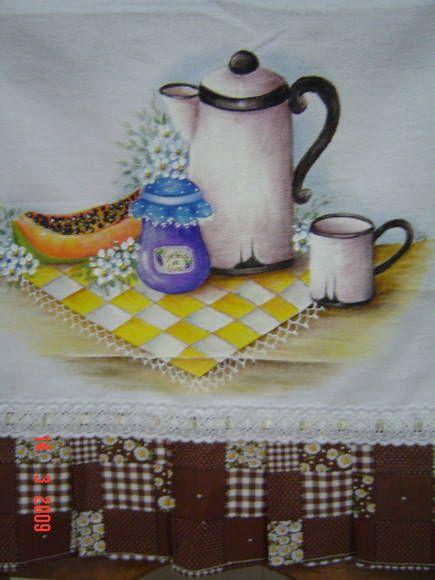 Pano de prato com bule   Leda e Jô - Arte em Tecido   14174E - Elo7