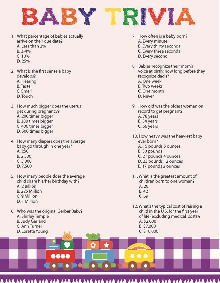 Baby Trivia Baby Shower Game, Train Theme Baby Shower Game, Purple Coed Baby Shower Game, D719