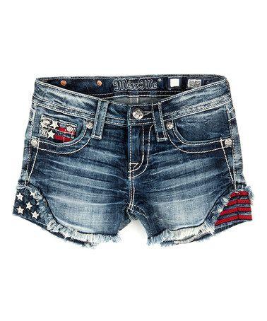 Another great find on #zulily! Medium Wash Stars & Stripes Shorts - Girls #zulilyfinds