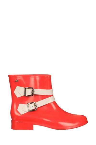 Bottines caoutchouc rouge Lisa Melissa sur MonShowroom.com