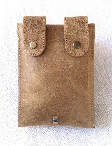 Beautiful handcrafted natural brown leather belt pouch small