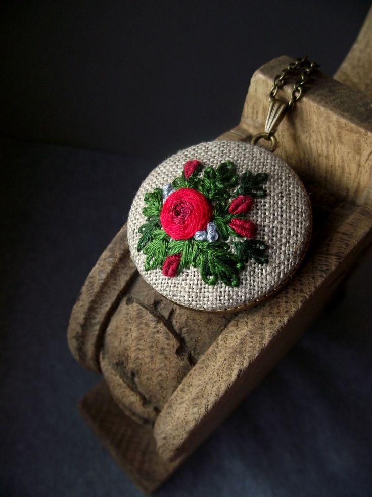 Hand embroidered pendant with rose by ZoZulkaart on Etsy