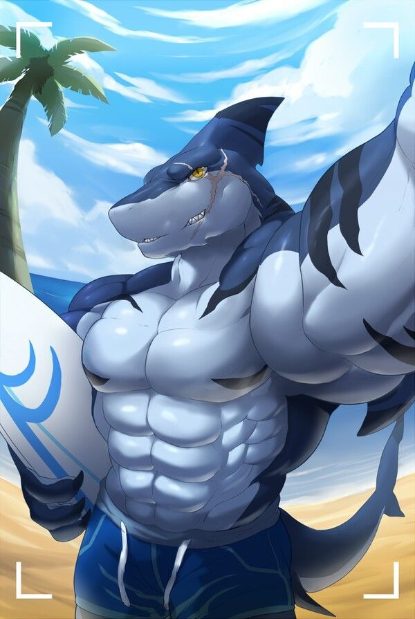 muscular gay porn Shark