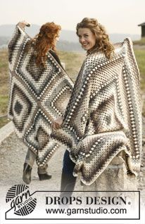 "FREE pattern - Crochet DROPS blankets in 1 large or 6 small patterned squares in ""Lima"". ~ DROPS Design."