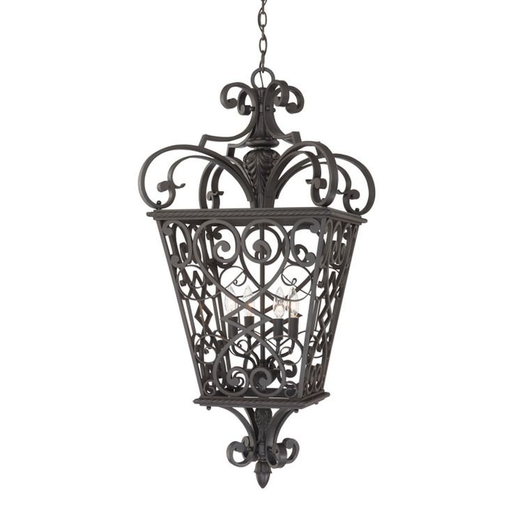 Four Light Outdoor Hanging, Front Porch, Cage pendant, Traditional, Gothic