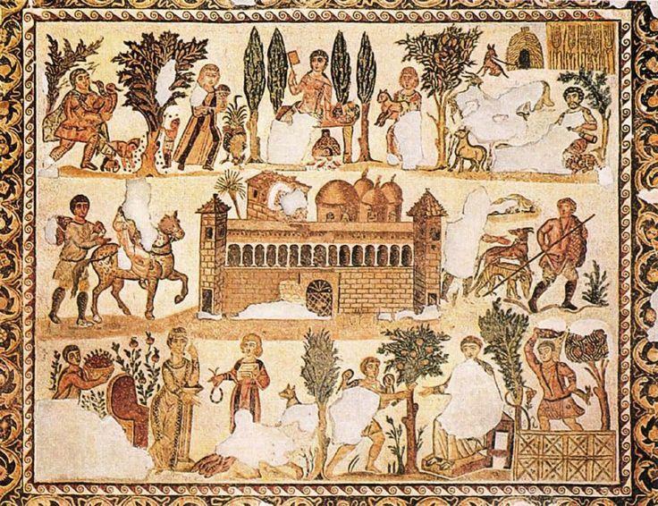 MOSAICO. Escenas de la vida cotidiana en una villa romana del Norte de Africa. Anónimo Romano. Procedente de Leptis Magna. Museo del Castillo. Trípoli.