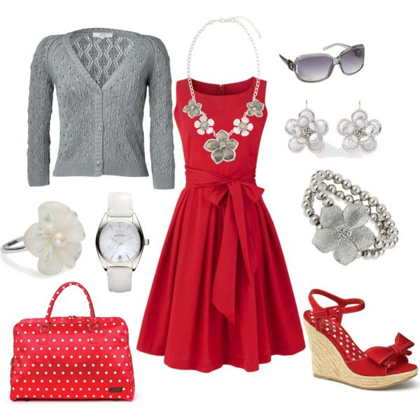 """Red dress with grey and white tones"" by anakt on Polyvore"