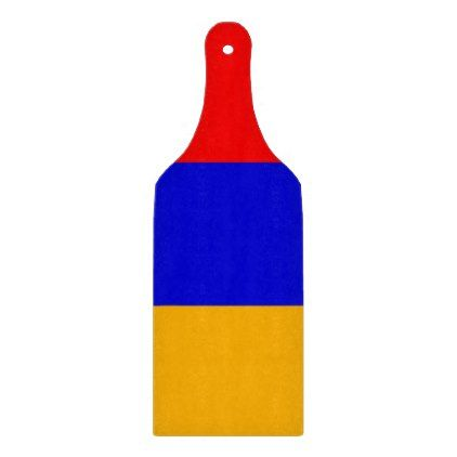 Glass cutting board paddle with flag of Armenia - kitchen gifts diy ideas decor special unique individual customized
