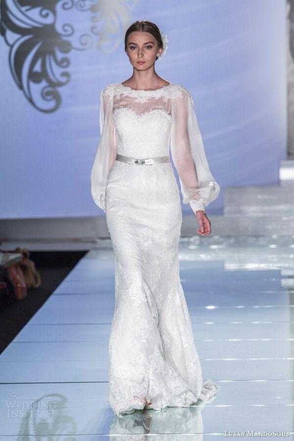 Lusan mandongus wedding dresses 2015 long sleeve gown lm2857b