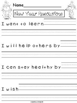 Create a New Year's Resolutions Class Book or simple display your students hopes and dreams for the New Year. Several writing prompts are included as well as primary and secondary lined paper to best meet the needs of your students.