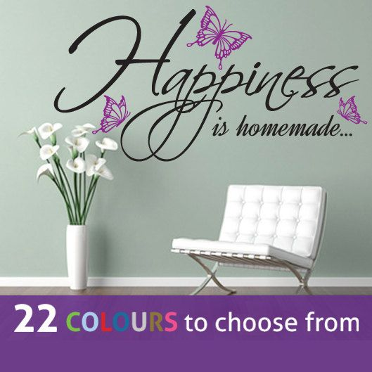 Two Colour HAPPINESS Is HOMEMADE Wall Sticker With Butterflies Art Decal Living Room Lounge Bedroom Kitchen Dining