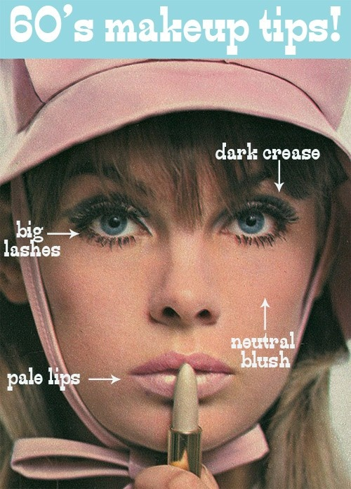 "60's makeup tips modeled by '60's super model Jean Shrimpton...Yardey ""Lip Slickers"" ad."