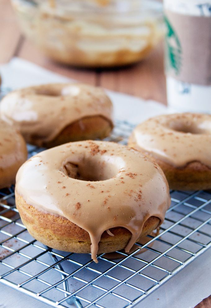 Pumpkin Spice Latte Donuts - made with real pumpkin and finished with a espresso frosting ... OH my