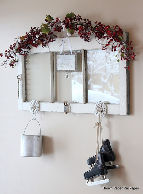 old window and other upcycle  and other Xmas decorating ideas