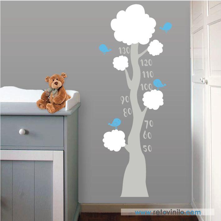 """Vinilos decorativo Infantiles Medidores - """" Pajaritos en su árbol """" bonito diseño de la naturaleza, representado por un sencillo árbol y unos simpáticos pajaritos, se recomienda colocar este diseño a 10 cm del suelo para usar el metro correctamente.  Se entrega una pieza de 53x65 cm principal elegido, los dos colores secundarios se anotaran en observaciones de tu pedido, y esta formado por una pieza 45x15 para los pájaros y otra de 52x50 para la vegetación del árbol, todo el conjunto forma…"""
