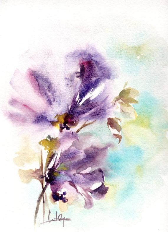 Abstract Flowers Watercolor Painting Original Watercolour
