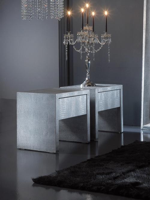 Silver alligator vogue bedside table