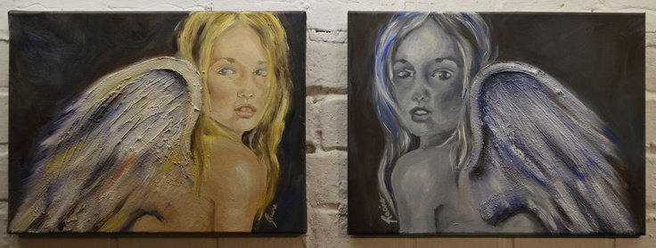""""""" Sisters"""" 2012  oil on canvas    By Racine Stephan    For sale."""