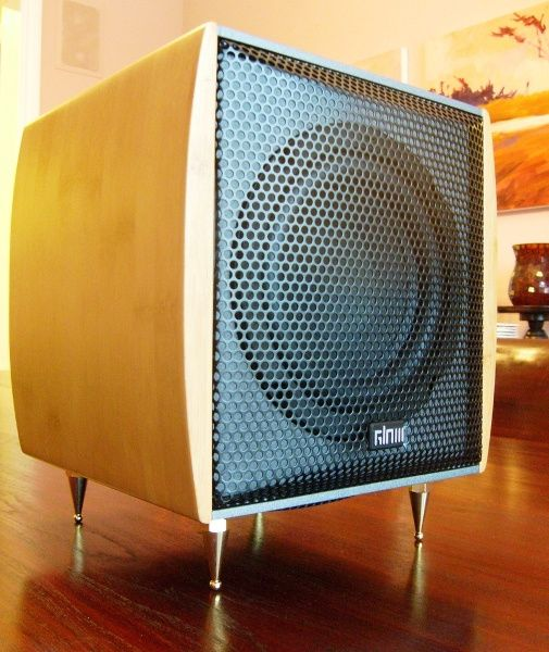 "GLOW sub one powered subwoofer with passive radiator and 6.5"" bass driver with bamboo side panels"
