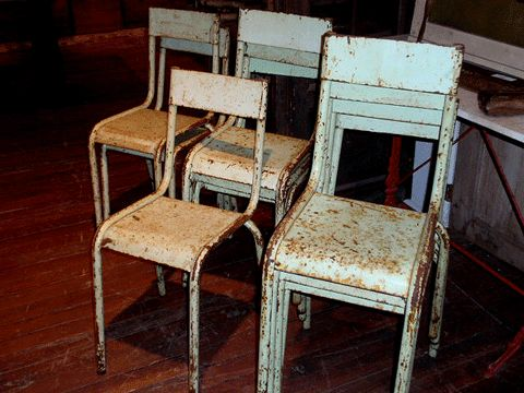 Vintage Industrial Metal Stacking Chairs Distressed Repinned By  Www.silver And Grey.