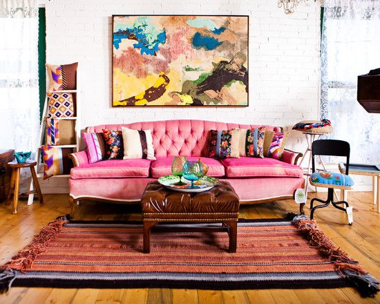 Eclectic Living Room Bohemian Window Treatments Design, Pictures, Remodel, Decor and Ideas