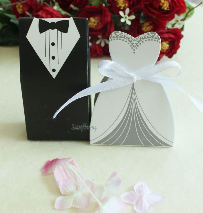 100Pcs Tuxedo Dress Groom bridal Wedding Favours Gift Boxes Ribbon Candy box