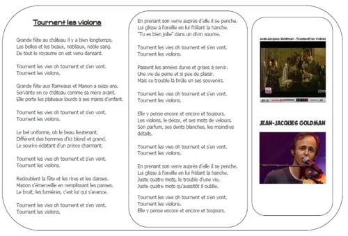 """Production d'écrits à partir d'un clip vidéo, """"Tournent les violons"""" de Jean-Jacques Goldman. Séquence, paroles et clips fournis."""
