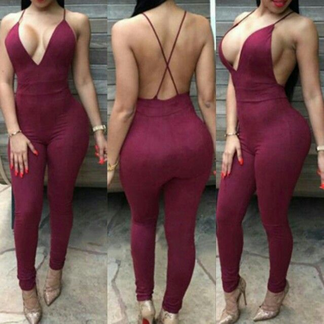 ❤Sexy Wine Red Backless Jumpsuit $20.95❤ Shop now at www.SexyGirlFashions803.com