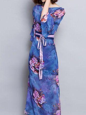Vintage Women Flower Printing Split Chiffon Maxi Dress With Belt at Banggood