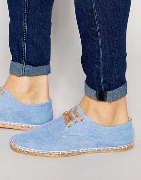 ASOS Derby Espadrilles in Blue Chambray