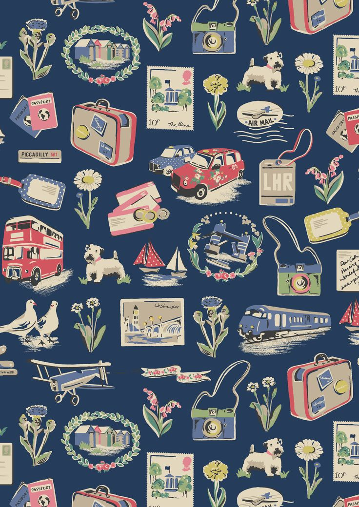 Billie Goes on Holiday | First Billie went to town and toured around London; now he's venturing further afield in this sweetly nostalgic novelty travel print. He travels by plane, train, taxi, bus and boat, sending postcards and snapping plenty of pics as he goes | Cath Kidston SS16 |