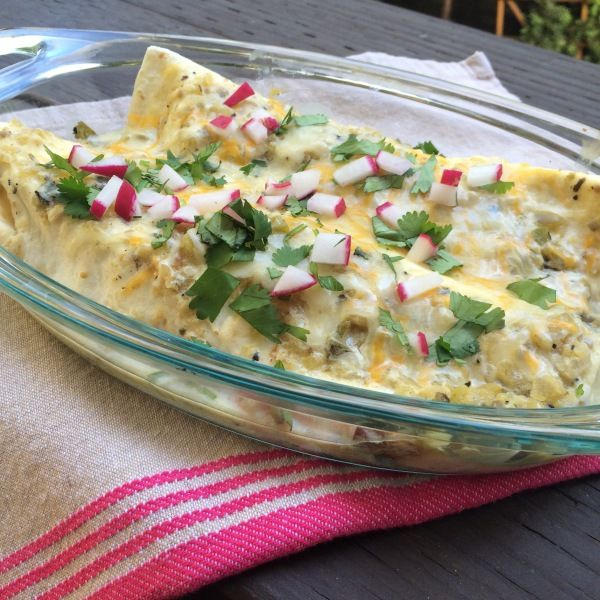Green Enchiladas with Chicken - serve over rice and doesn't need the radish. Also season/bake the chicken with homemade taco seasoning to give it more flavor.